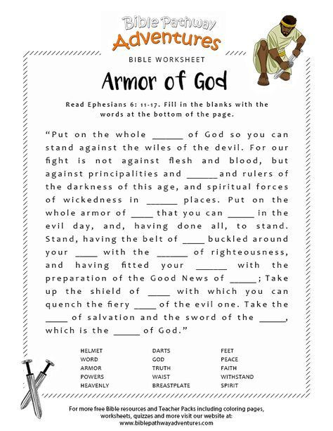 Free Printable Religious Worksheets Armor Of God Bible Worksheet