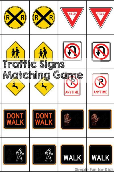 Free Printable Safety Signs Worksheets Traffic Signs Matching Game Printable Simple Fun for Kids