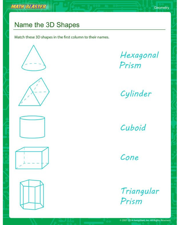 Geometric Shapes Worksheets 2nd Grade Name the 3d Shapes Worksheets – Free Geometry Printables