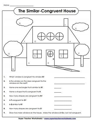 Geometric Shapes Worksheets 2nd Grade Similar Congruent House In 2020