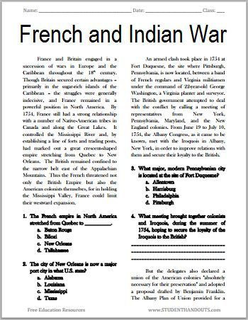 Grade 7 social Studies Worksheets the French and Indian War Free Printable American History
