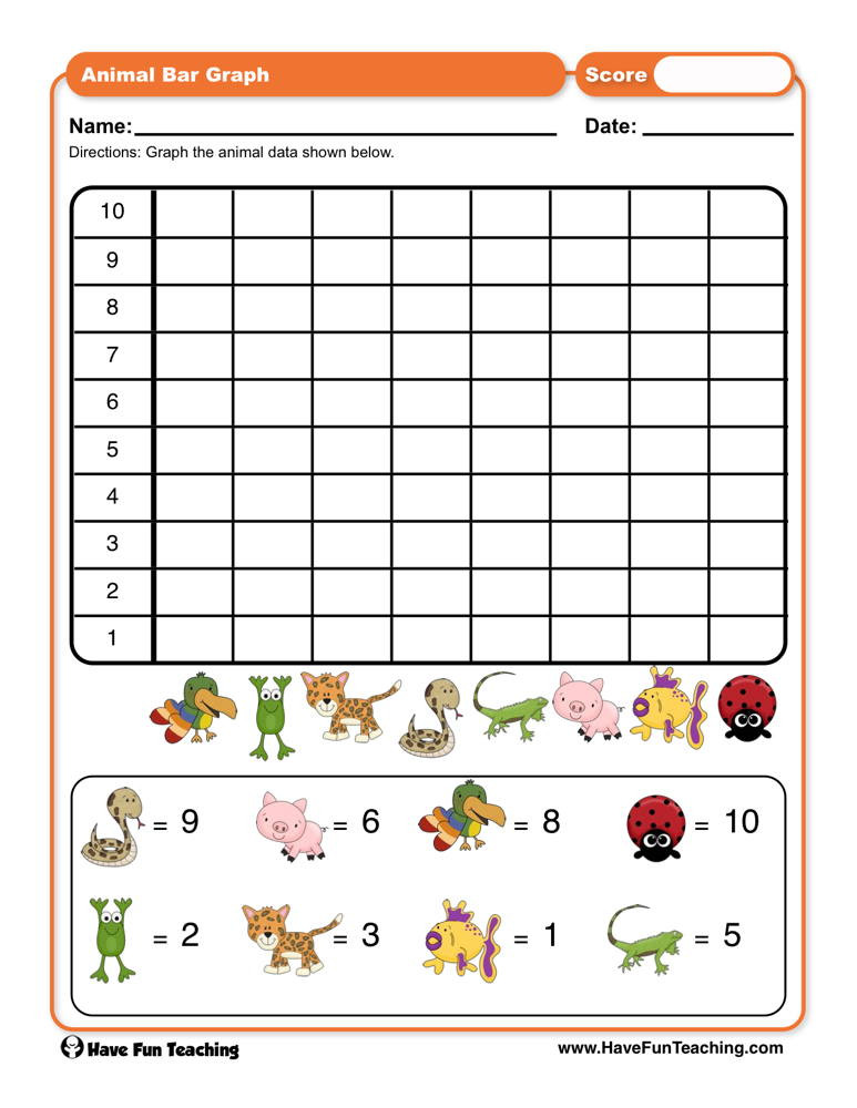 Graphing Worksheets Kindergarten Animals Bar Graph Worksheet