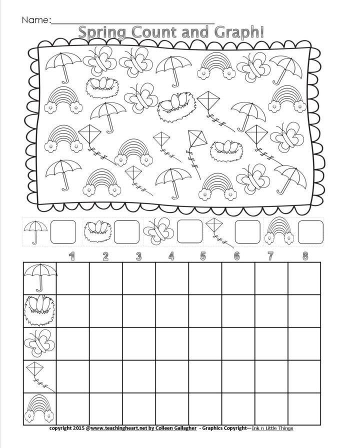 Graphing Worksheets Kindergarten Spring Count and Graph Free Teaching Heart Blog Graphing