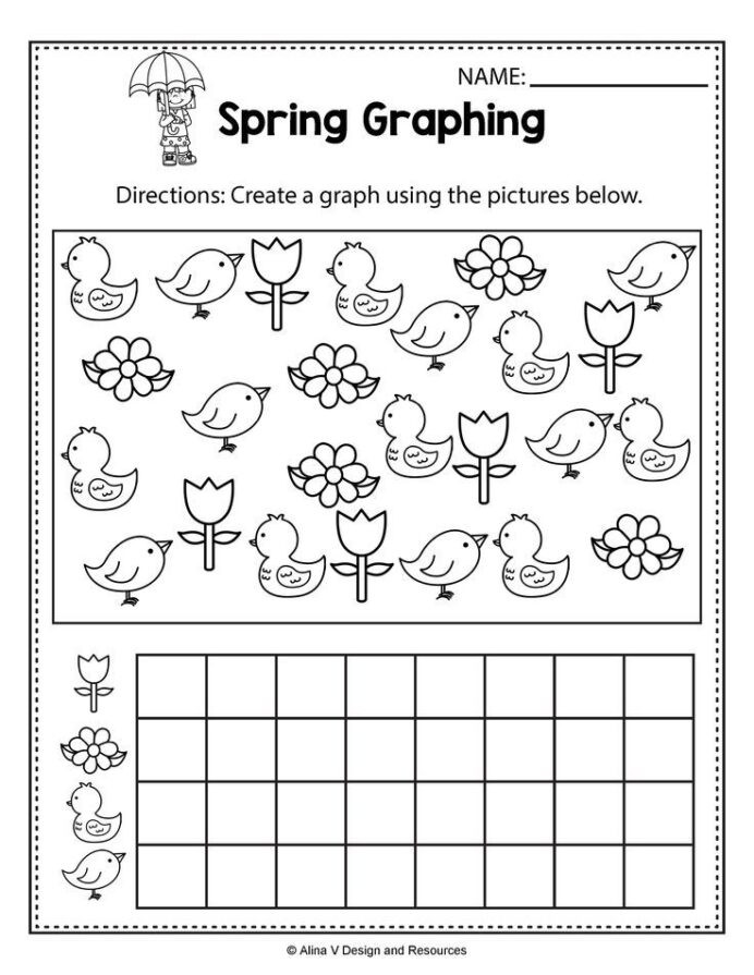 Graphing Worksheets Kindergarten Spring Graphing Math Worksheets and Activities for