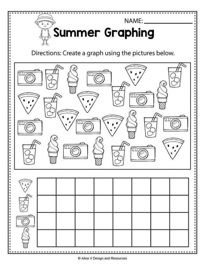 Graphing Worksheets Kindergarten Summer Graphing Worksheets and Activities for Preschool Math
