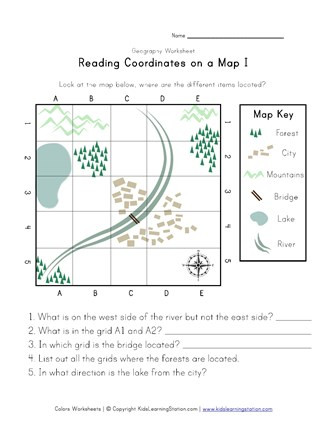 Grid Map Worksheets Grade 2 Reading Coordinates On A Map Worksheet
