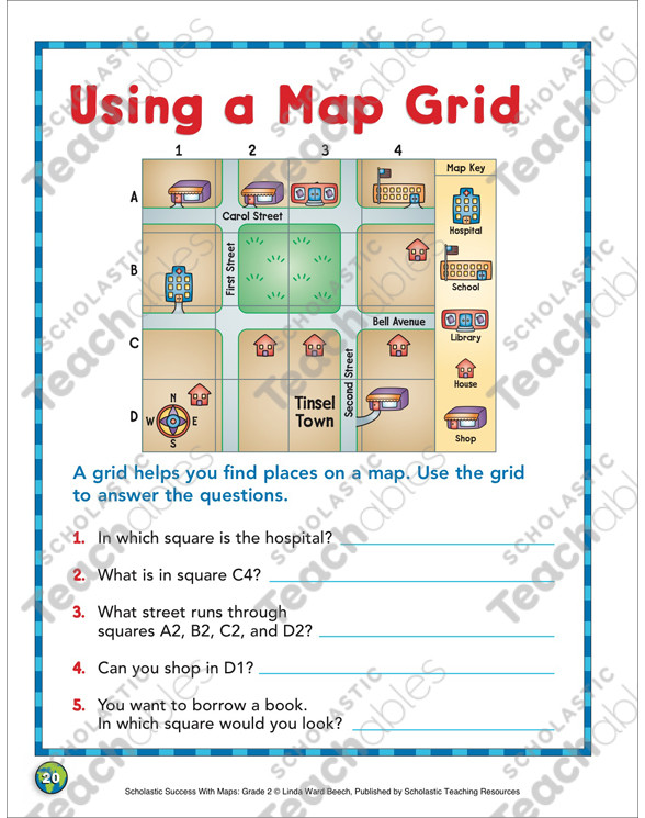 Grid Map Worksheets Grade 2 Using A Map Grid Grade 2 Map Skills