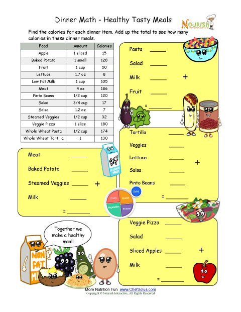 Grocery Shopping Math Worksheets Calorie Count Math Worksheet for Elementary School Children