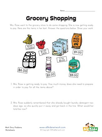 Grocery Shopping Math Worksheets Grocery Shopping Story Problems Worksheet