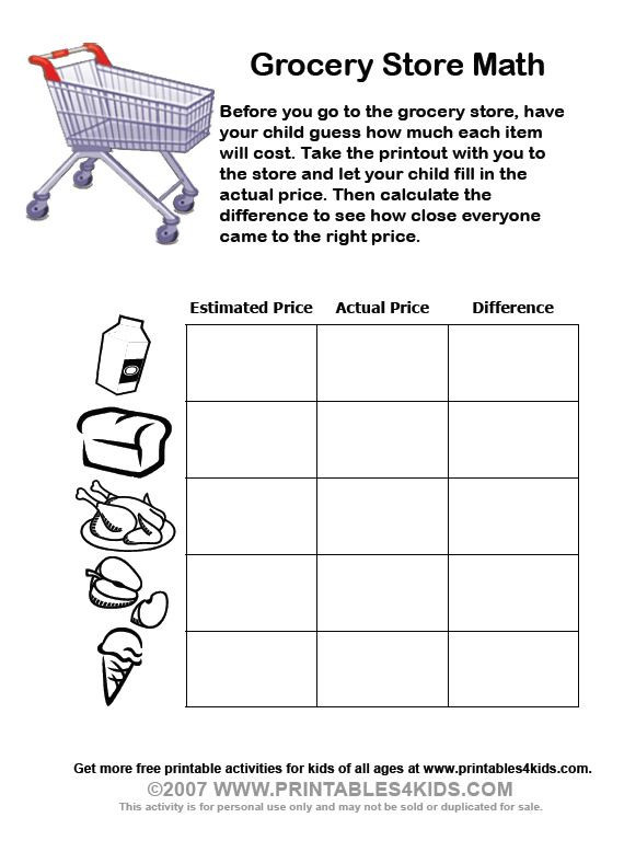 Grocery Shopping Math Worksheets Grocery Store Math