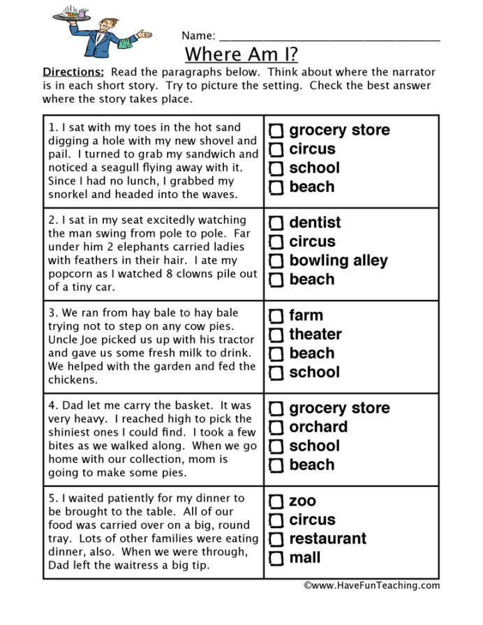Grocery Shopping Math Worksheets Locations Inferences Worksheet Have Fun Teaching Inference