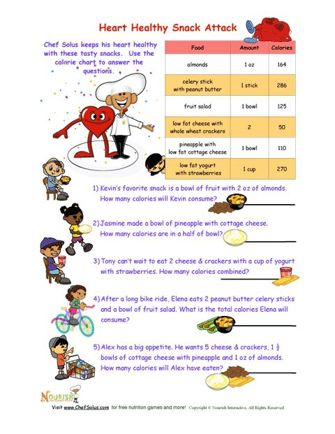 Grocery Store Math Worksheets Heart Healthy Snack attack Math Worksheet for Kids