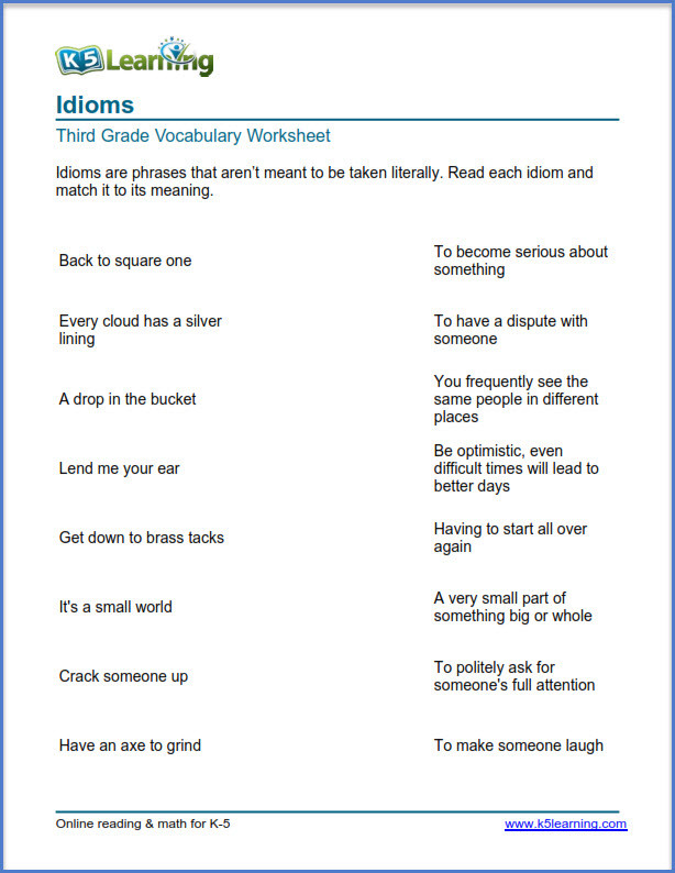 Idiom Worksheets for 2nd Grade Grade 3 Vocabulary Worksheets – Printable and organized by