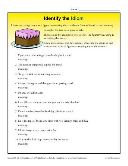 Idiom Worksheets for 2nd Grade Identify the Idioms