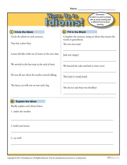 Idiom Worksheets for 2nd Grade Idioms Warm Up Activity