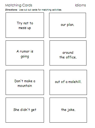 Idiom Worksheets for 2nd Grade Idioms – Word Lists Worksheets Activities and More