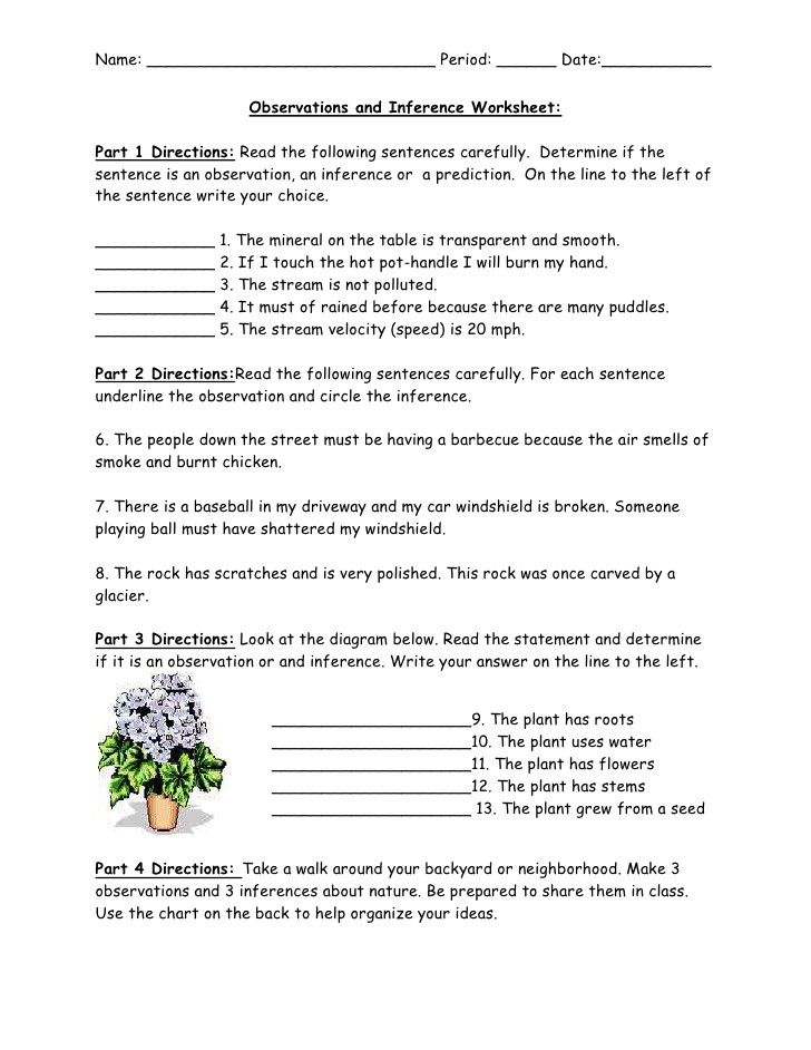 Inferencing Worksheets 4th Grade Observations and Inference Worksheet