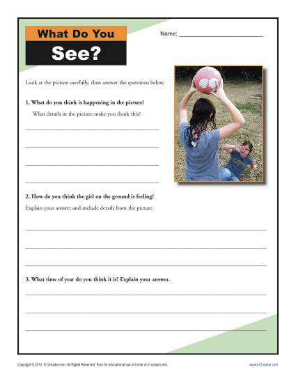 Inferencing Worksheets 4th Grade What Do You See