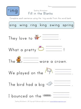 Ing Worksheets Grade 1 Plete the Sentences with Ing Words
