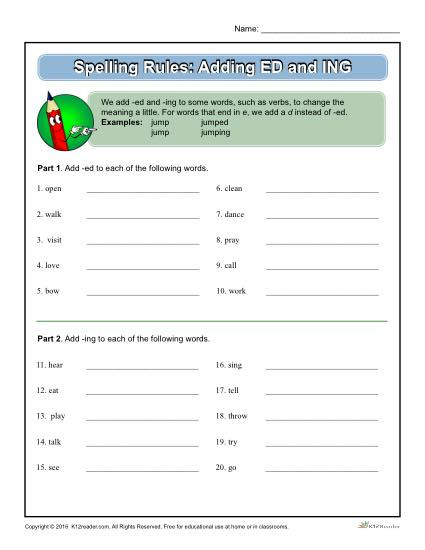 Ing Worksheets Grade 1 Spelling Rules Adding Ed and Ing