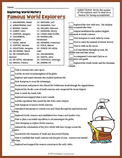 Kindergarten History Worksheets Free Printable Famous World Explorers History Worksheet
