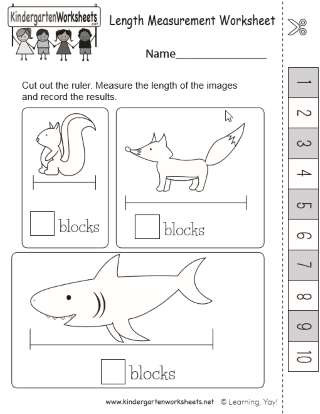 Kindergarten Measurement Worksheets Early Learning Measuring Length Practice Worksheet