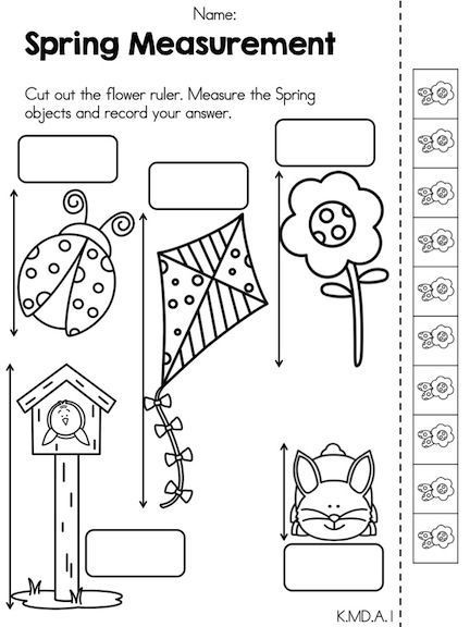 Kindergarten Measurement Worksheets Spring Math Activities Kindergarten