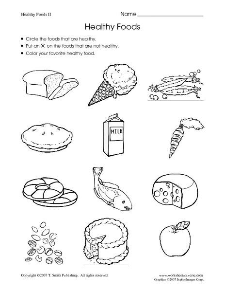 Kindergarten Nutrition Worksheets Healthy Foods Worksheet for Kindergarten 1st Grade