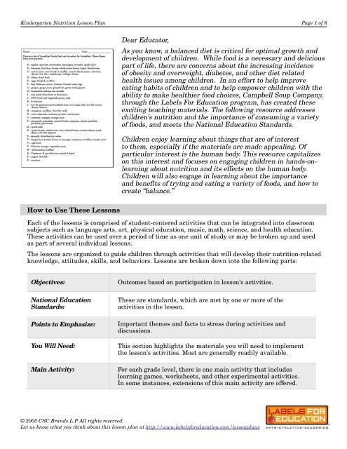 Kindergarten Nutrition Worksheets Kindergarten Nutrition Lesson Plan Labels for Education