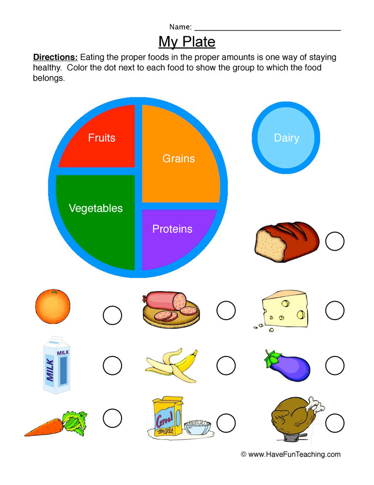 Kindergarten Nutrition Worksheets My Plate sorting Worksheet