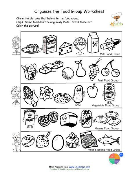 Kindergarten Nutrition Worksheets Printable Color and sorting Food Groups