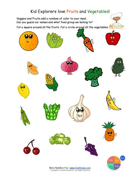 Kindergarten Nutrition Worksheets Printable Identify the Fruits and Ve Ables Worksheet