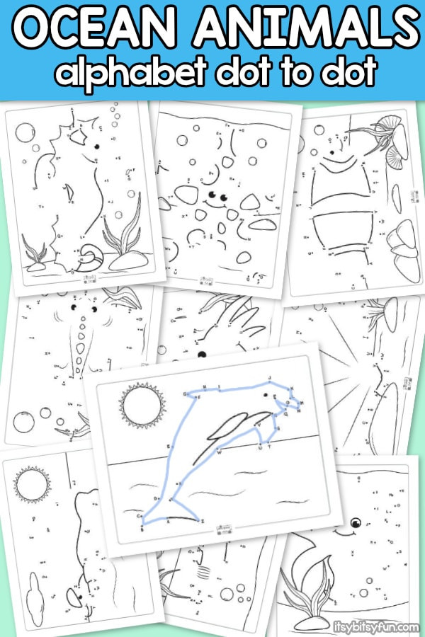 Kindergarten Ocean Worksheets Ocean Animals Alphabet Dot to Dot Worksheets Itsybitsyfun
