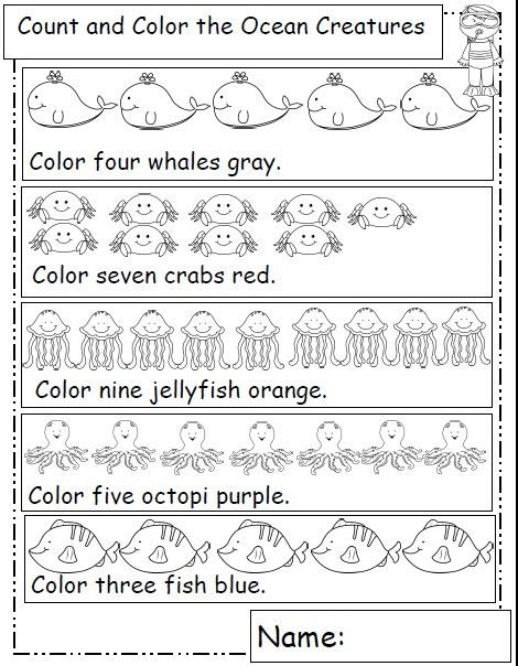 Kindergarten Ocean Worksheets Ocean Animals