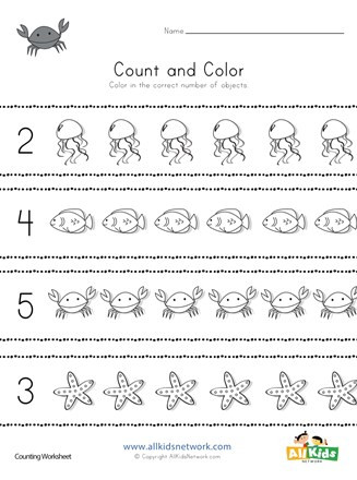 Kindergarten Ocean Worksheets Ocean Count and Color Worksheet