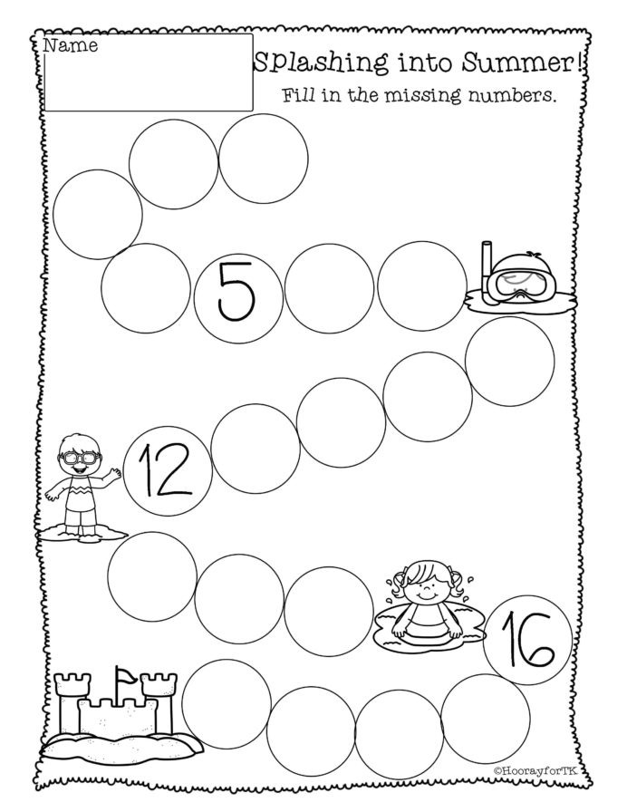 Kindergarten Ocean Worksheets Printable Math Activities Numbers Preschool Kindergarten