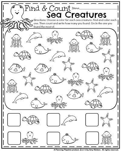 Kindergarten Ocean Worksheets Summer Kindergarten Worksheets