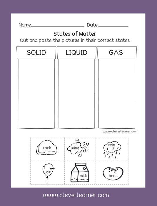 Kindergarten Science Worksheets States Of Matter solid Liquid Gas Free Preschool Activity