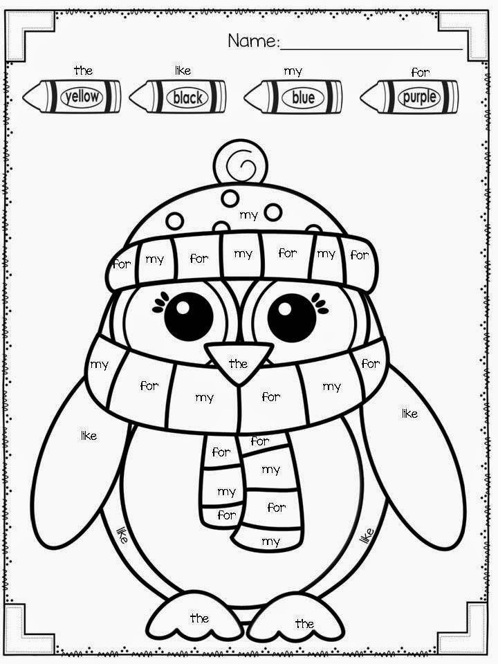 Kindergarten Sight Word Coloring Worksheets My Fabulous Class Snow Much Fun Freebies Included