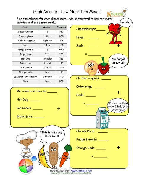 Kitchen Math Worksheets Calorie Count Math Worksheet for Elementary School Children