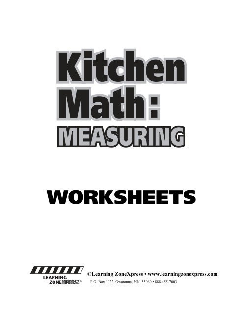 Kitchen Math Worksheets Kitchen Math W Learning Zone Express