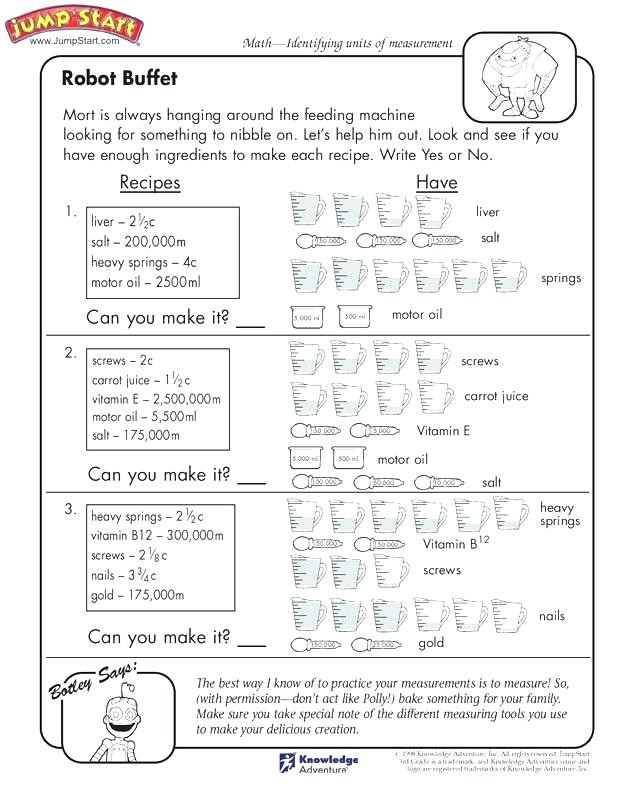 Kitchen Math Worksheets Kitchen Math Worksheets – Garpuub