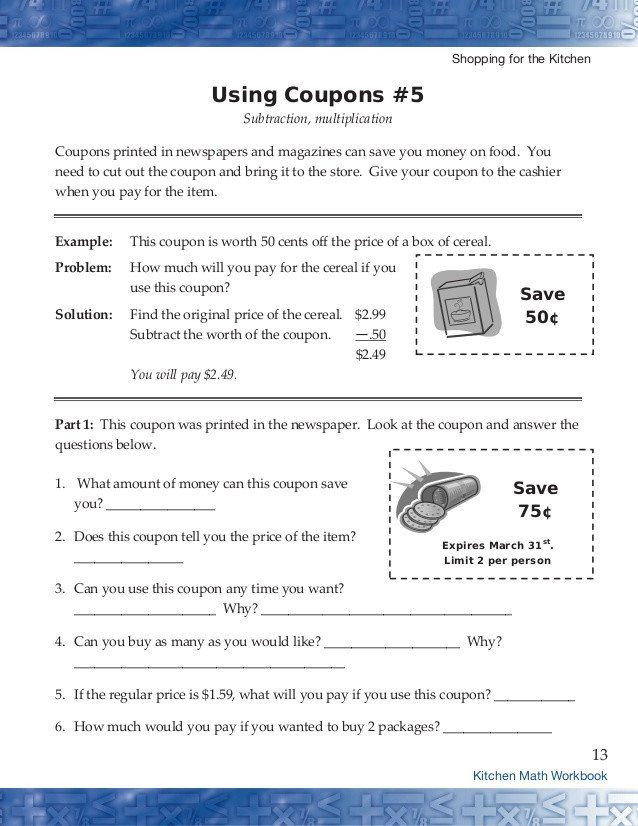 Kitchen Math Worksheets Pin On Learning