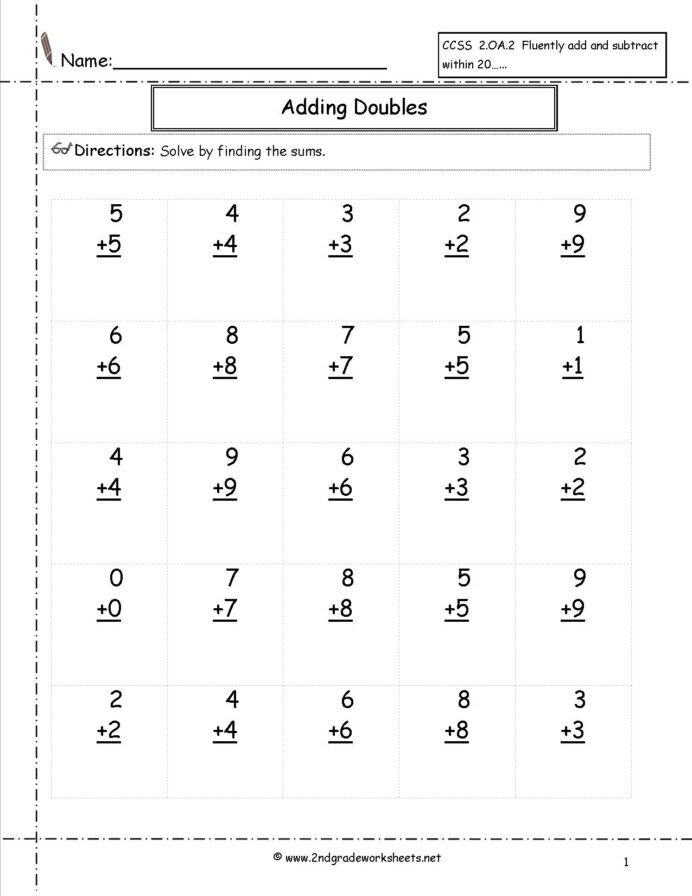 Kumon Printable Worksheets Free Free Single Digit Addition Worksheets Adding Zero Doubles