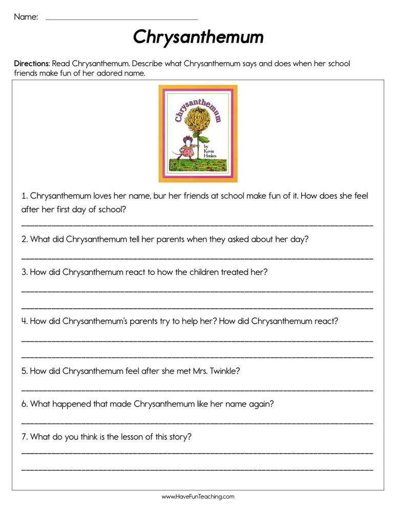 Making Friends Worksheets Kindergarten Chrysanthemum Worksheet