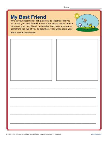 Making Friends Worksheets Kindergarten Writing Prompt for Kindergarten My Best Friend