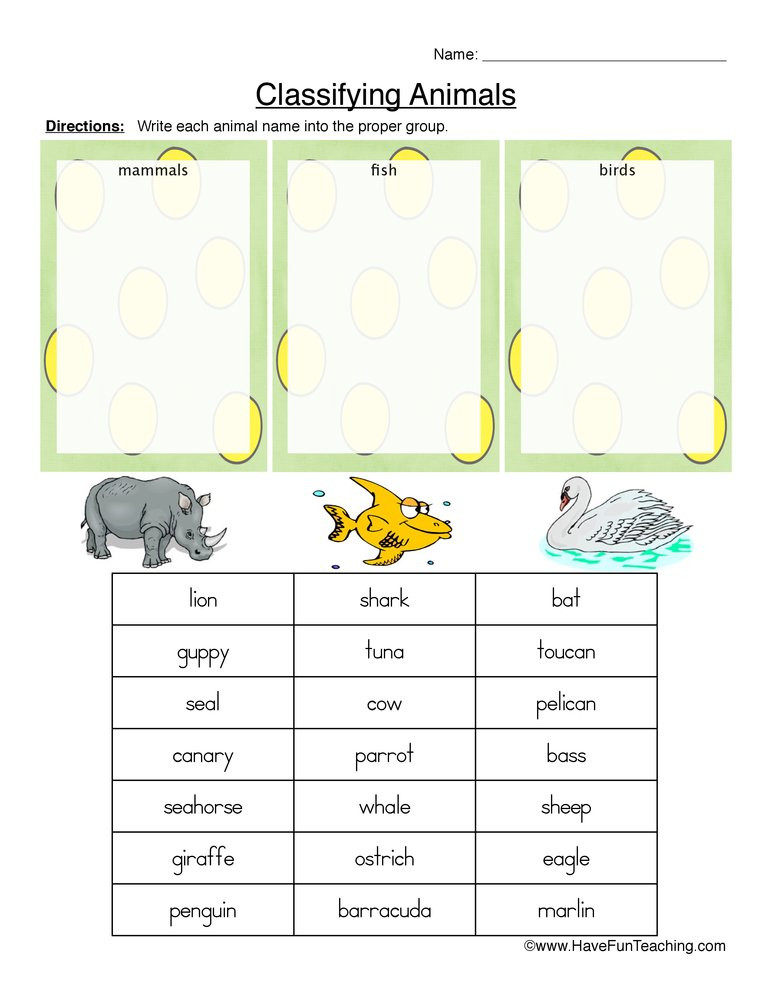 Mammals Worksheet First Grade Mammals Fish or Birds Classifying Animals Worksheet