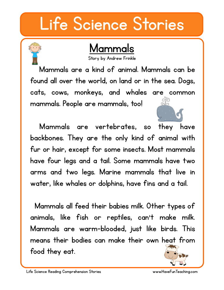 Mammals Worksheet First Grade Reading Prehension Worksheet Mammals