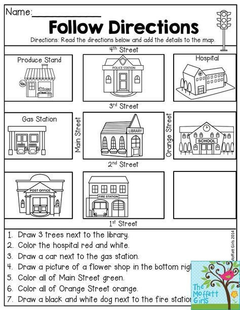 Map Worksheets for First Grade Follow Directions Read the Directions and Add the Details