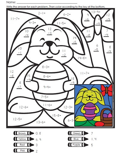 Math Hidden Picture Worksheets A Math Mystery Picture for Easter